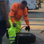 Man Filling a tire